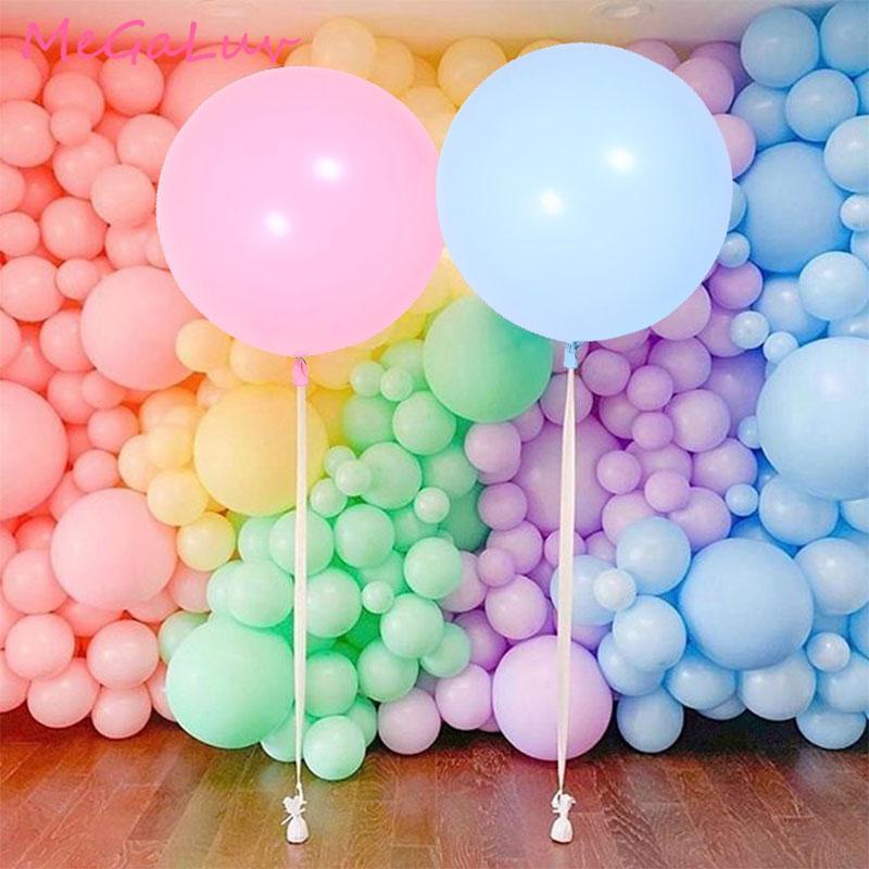 36 inç macun dev yuvarlak balonlar bebek duş doğum günü partisi düğün dekorasyon macaron lateks balonlar pembe mavi büyük globos