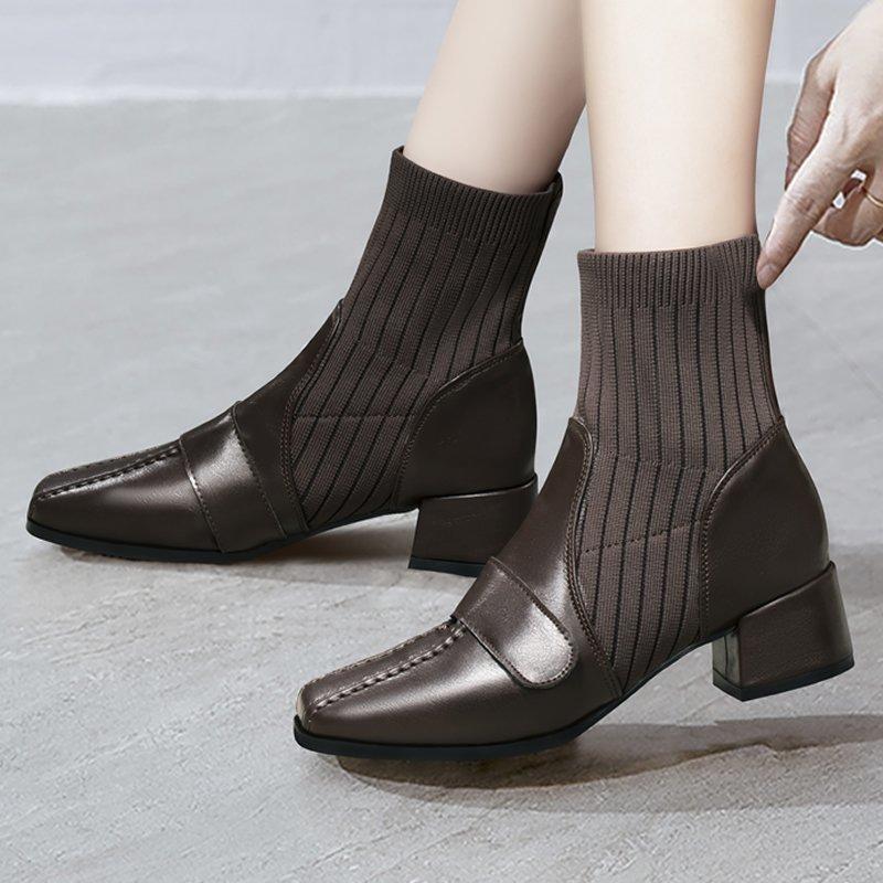 Kadın Çorap Seksi Boots 2020 Moda Yüksek Topuk Ayakkabı Bayanlar Sivri Burun Bayan Bilek Patik Kış Deri Ayakkabı Kadın
