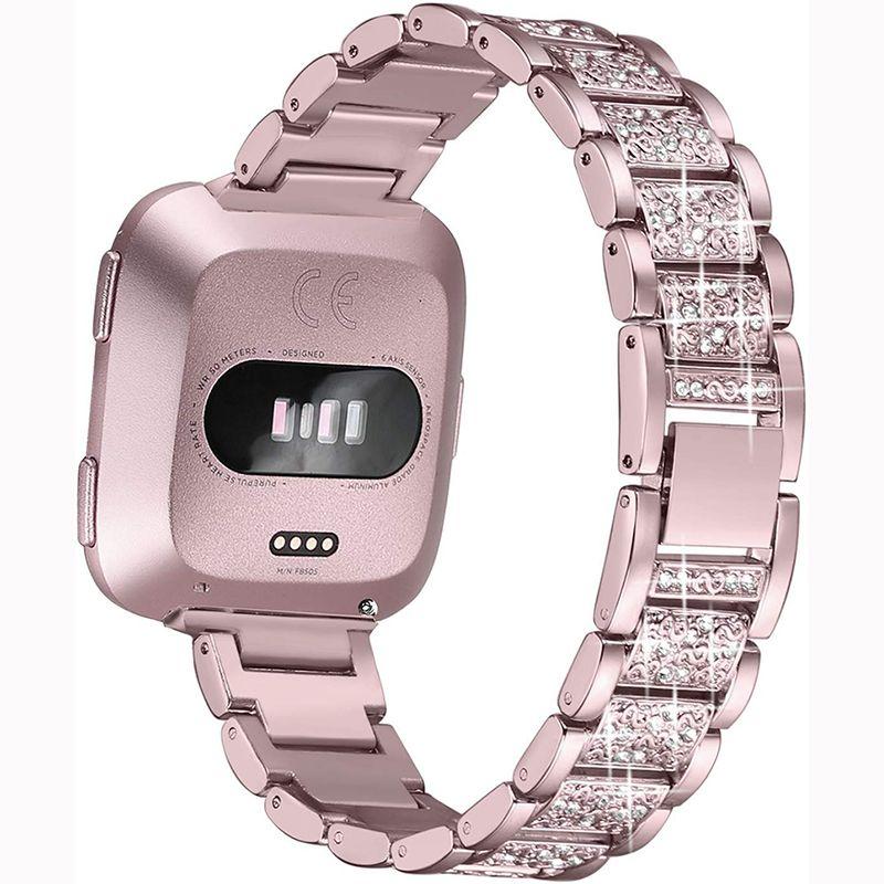 Fitbit lite için elmas izle Band İçin Fitbit Versa 2 Paslanmaz Çelik Kayış kadınlar Bilek Bilezik Bling / ayet 2 Bant Aksesuarlar