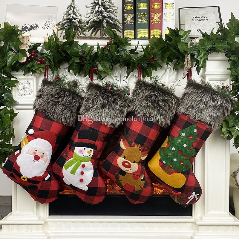 New Style Christmas Stocking 47.5*22cm Big Xmas Stockings With Snowflake Santa Snowman Reindeer Pattern Family Pack Stockings
