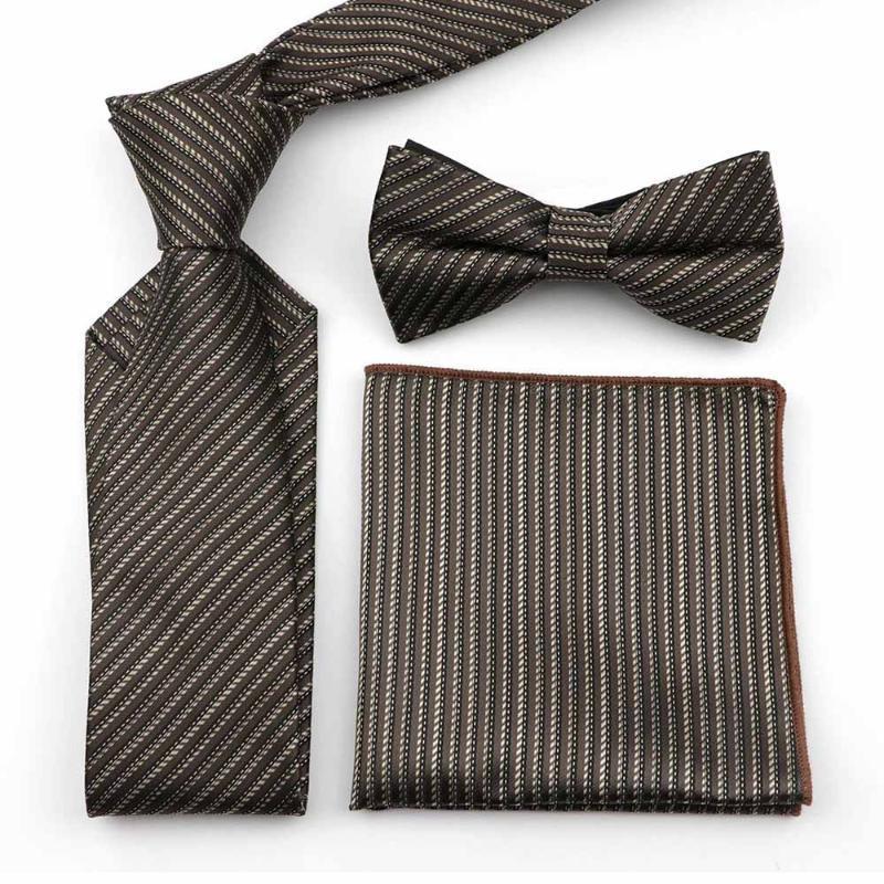 Rayures à carreaux Dot Paisley 100% polyester 7cm cravate Set hommes d'affaires Bureau costume formel belle cravate Mouchoir papillon BowTie