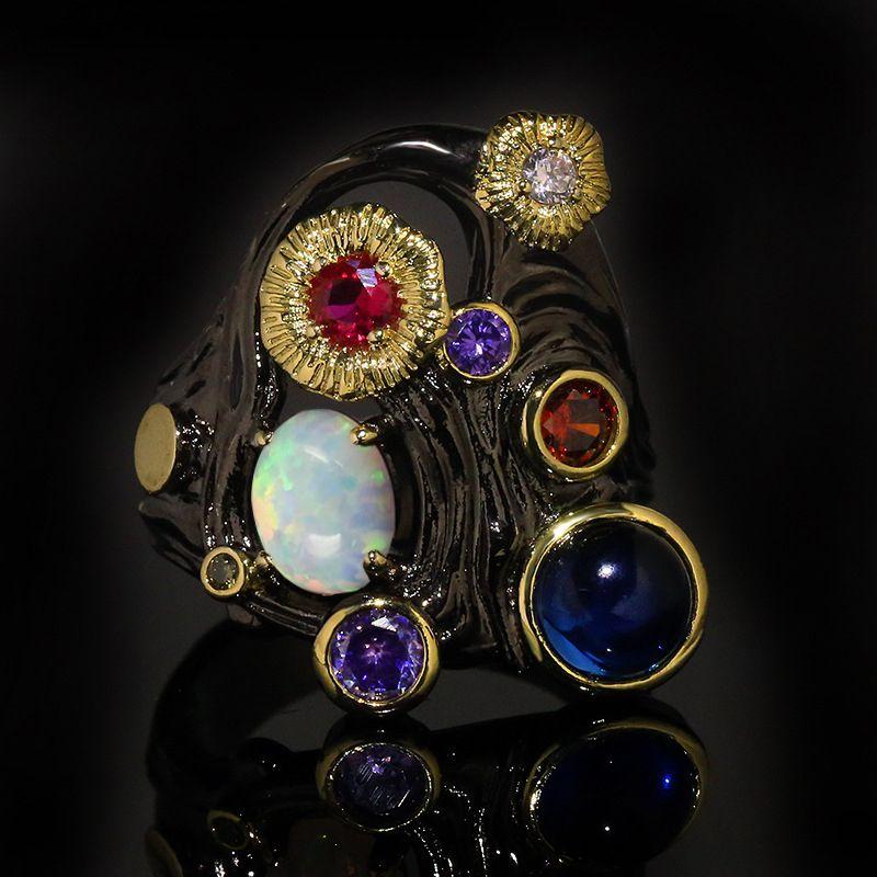Europa e Stati Uniti zircone colorato e opale anello femminile dono gioielli monili di marca di modo di colore Nero Oro caldo cava