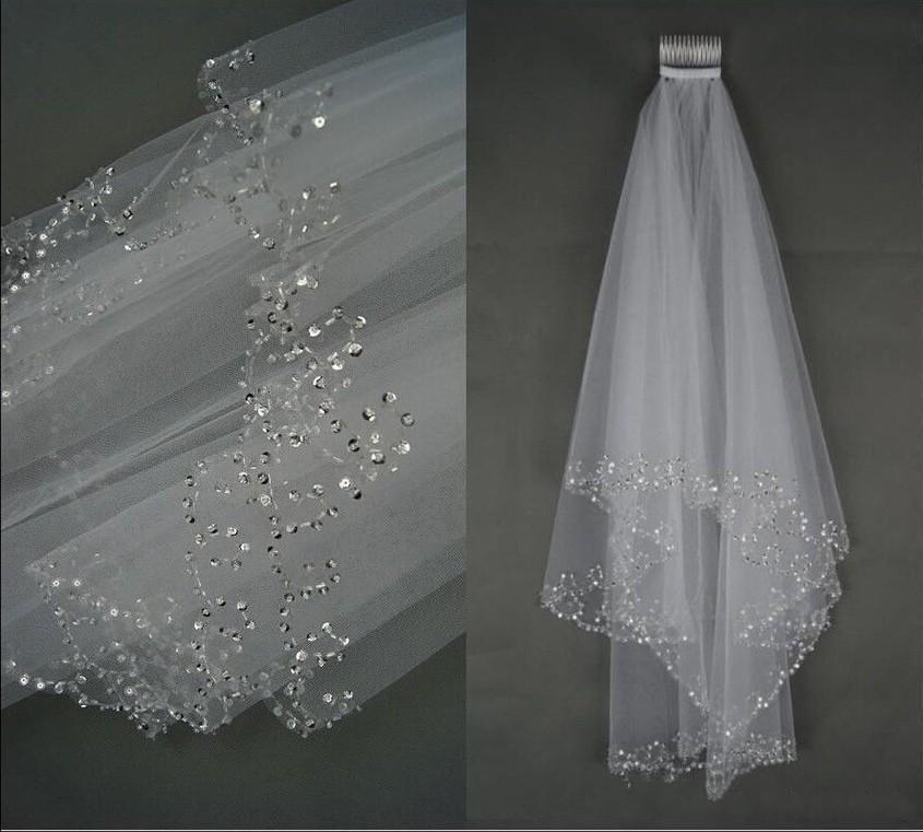 lüks Gelin Duvağı Kısa Düğün Gelin Veil 2 Katman El yapımı Kristal Boncuklu Hilal kenar Gelin Aksesuarları Veil Beyaz Fildişi stokta