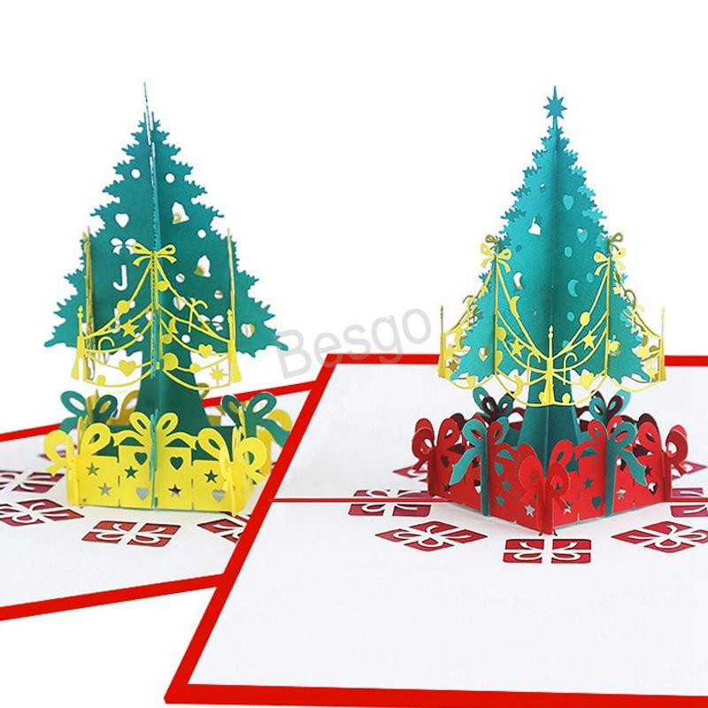 Christmas 3D Pop Up Greeting Cards Xmas Greeting Paper Cards Christmas Tree Decoration Postcard 3D Xmas Gift Paper Card BH0100 TQQ