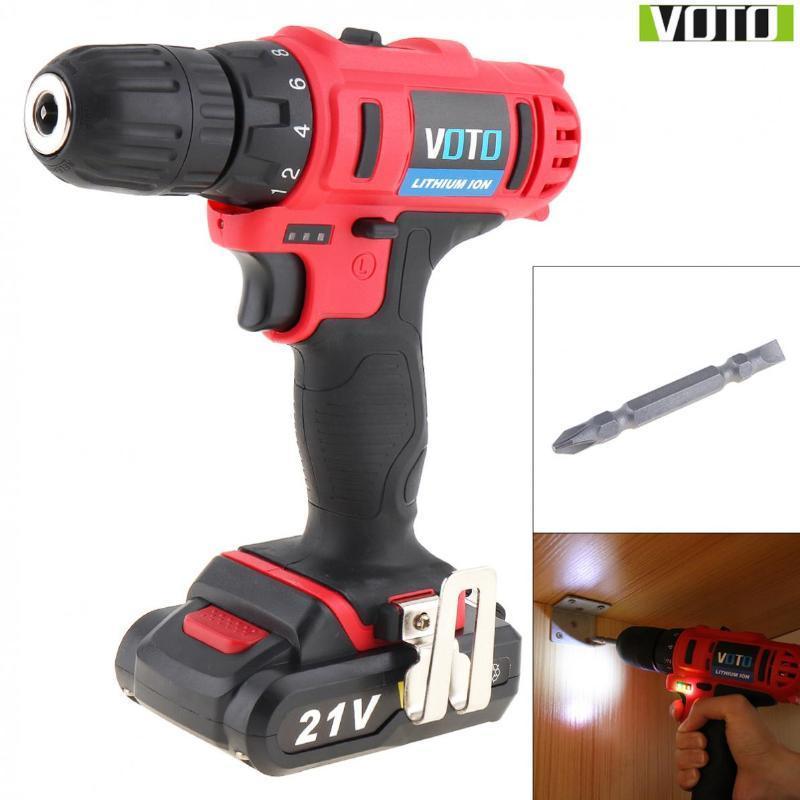 VOTO AC 100 - 240V cordless 21V a due velocità Cacciavite elettrico / Drill con Max batteria al litio e di mostra di energia Luce