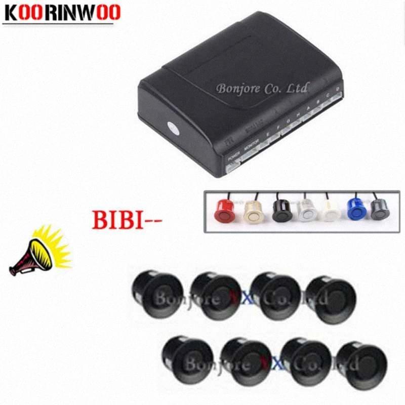 Koorinwoo Estacionamento Sensores 8 radares Estacionamento Sistema de alarme Speaker Assist Car Acessórios Parktronic Auto Sound Speaker dUBD #