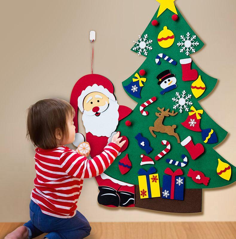 Arbre de Noël bricolage Felt Set - Décorations de Noël Tenture Ornements cadeaux pour enfants 2 PCS Réceptions