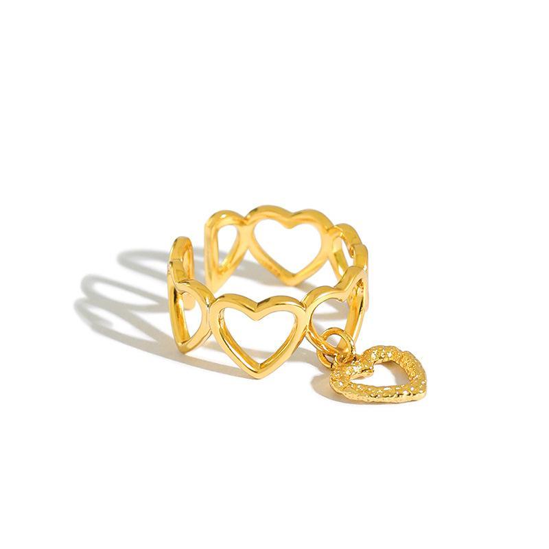 Shanice S925 prata anel aberto ins nicho temperamento coração amor anel de presente rapariga presente do partido