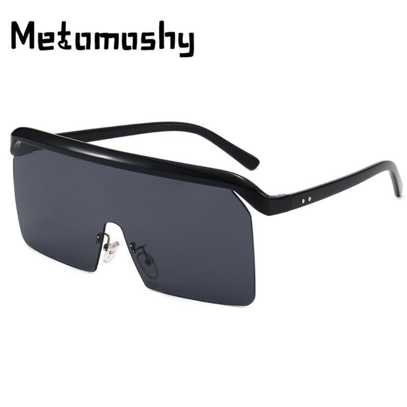 2020 Поляризованные Увеличенные ветрозащитный Солнцезащитные очки Женщины Марка Rimless One Piece Большой кадр Солнцезащитные очки Мужчины Leopard Солнцезащитный Оттенки