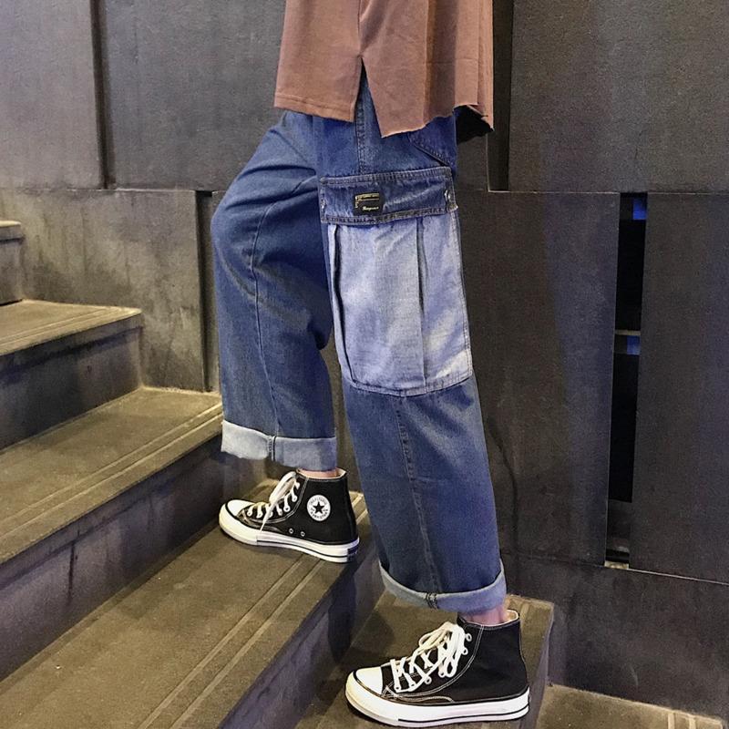 Jeans Hommes 2020 Automne et Hiver Nouveau décousu droite solide Salopette couleur pour les jeunes hommes Mode Vêtements Tendance