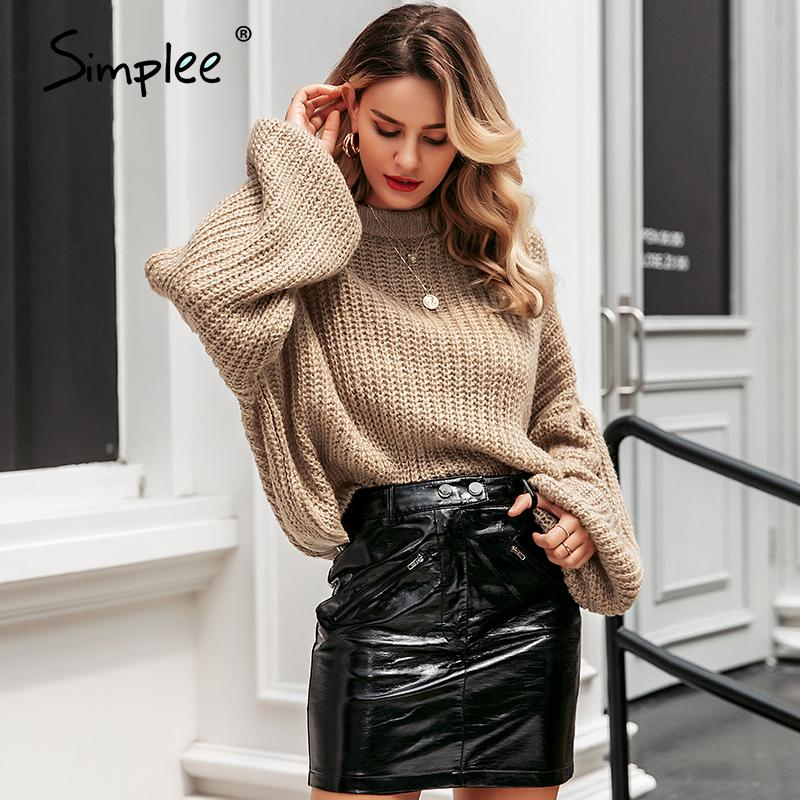 Simplee hiver lanterne manches pull en tricot pull femme solide lâche O pull col automne Femme nouveau pull pull casual 200921