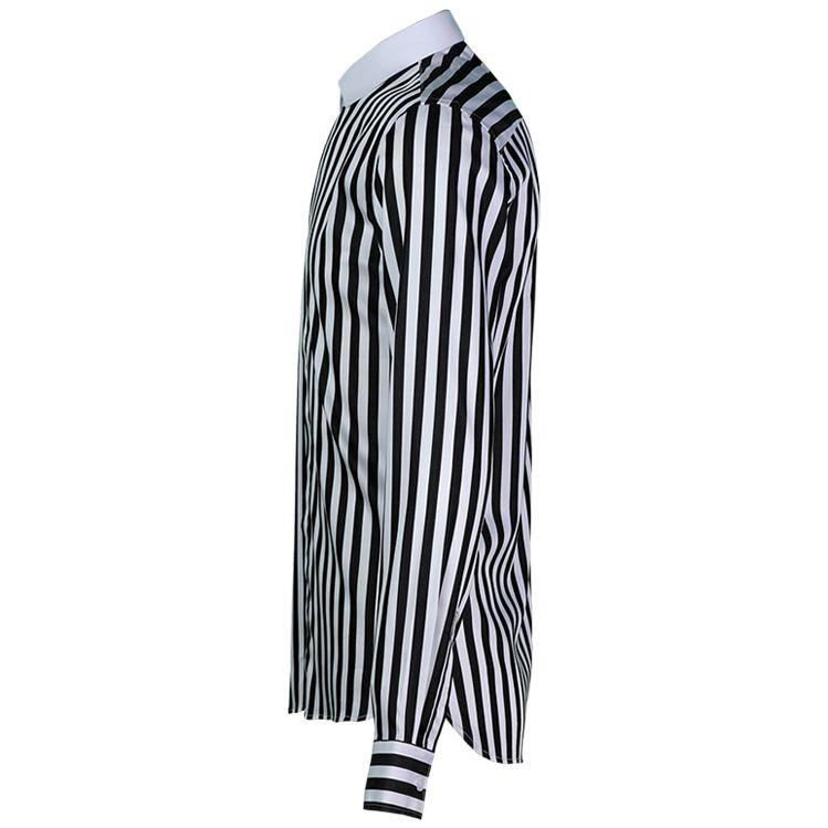 Striped Fashion Classic Trend Long Sleeve Dress Shirt Camisa Masculina Mens Shirts Casual Slim Fit 4XL