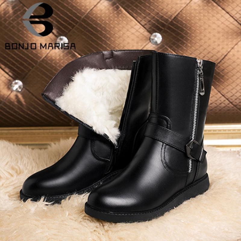 BONJOMARISA hebilla hembra cremallera corta de felpa botas de mediados de la pantorrilla botas de abrigo de invierno las mujeres 2020 zapatos de tacón bajo de la cadena de la mujer
