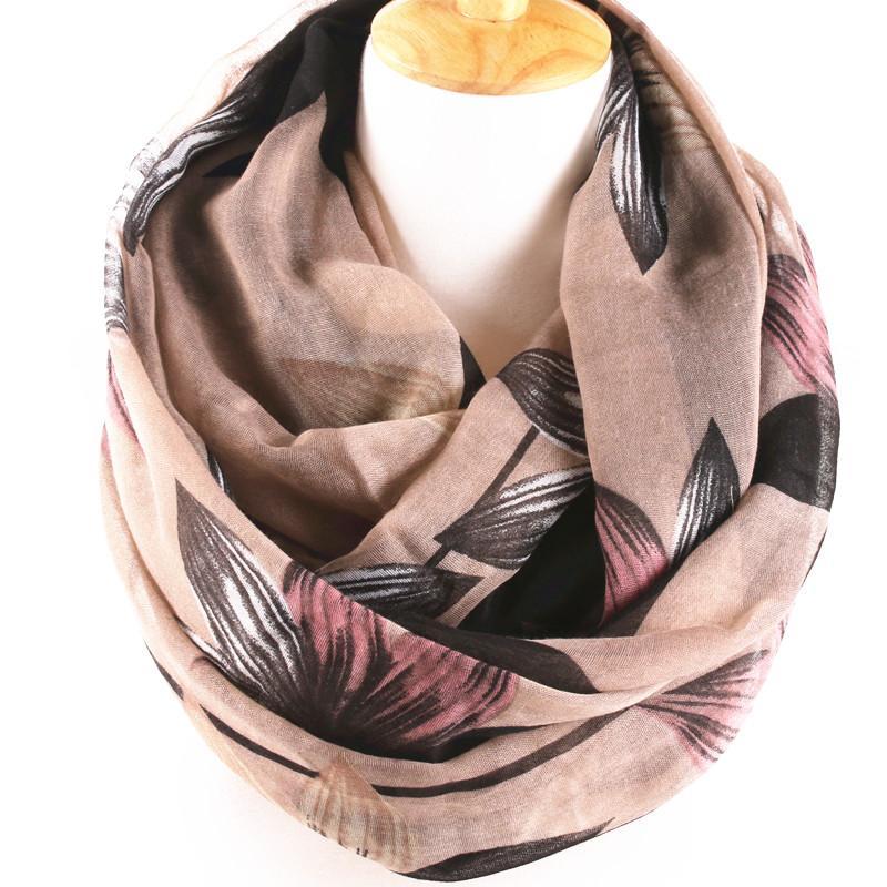 2020 New winter scarf for women Brand Design Elegant big Flower Printed Cotton Voile long Scarf infinity loop