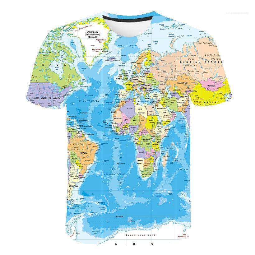 Camisetas Mapa del mundo impreso en 3D Camiseta Hombre transpirable camiseta divertida Homme verano camiseta de los hombres de manga corta