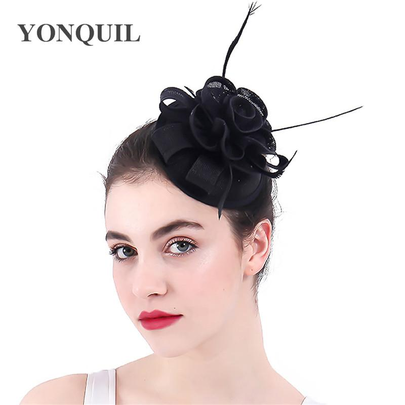 Clásico 17 de color fascinator hecho a mano de flores de imitación sombreros sinamay del casco del partido de sombreros sombreros de la boda elegante de las mujeres tapas SYF325