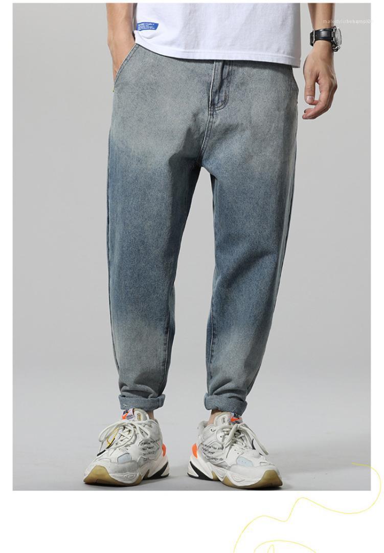 Свободные джинсы с Карманы Мужские Дизайнер Ins джинсы Повседневный Light Blue Mid талией Street Style Jean Брюки Градиент цвета