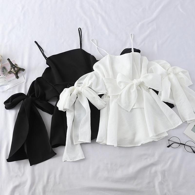 Женские блузки Рубашки Heliar 2021 летний темперамент Одно слово получает оболочку, чтобы взять куртку плавления плеча росы Han Edition Joker Show Thi