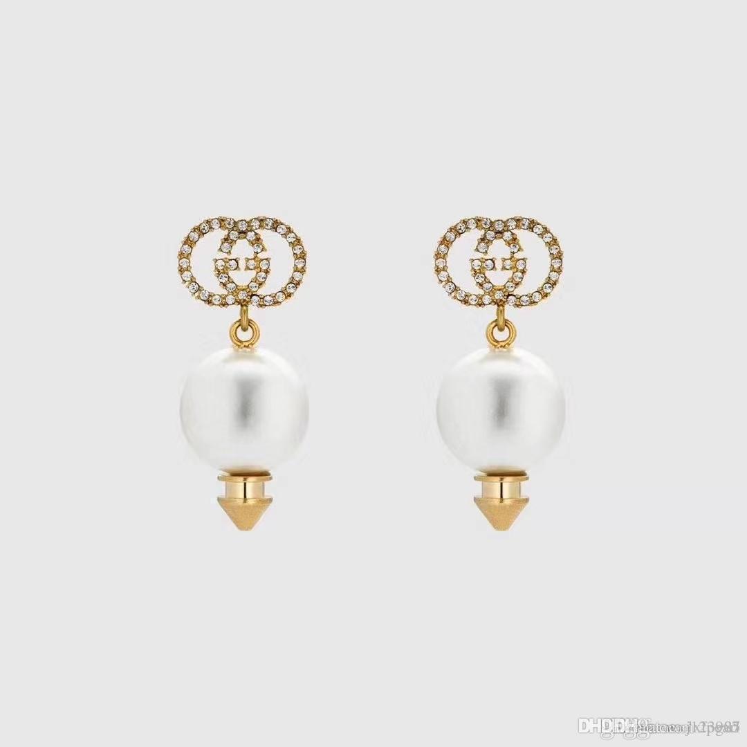 2020 autunno e inverno Nuove Lettere strass perla intarsiato orecchini