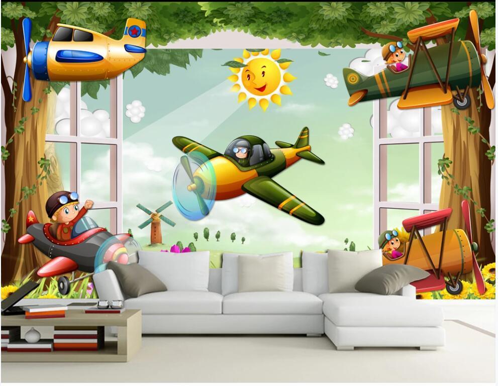foto personalizada mural 3d papel de parede dos desenhos animados crianças avião quarto fora a decoração da janela de casa 3d murais de parede papel de parede para paredes 3 d