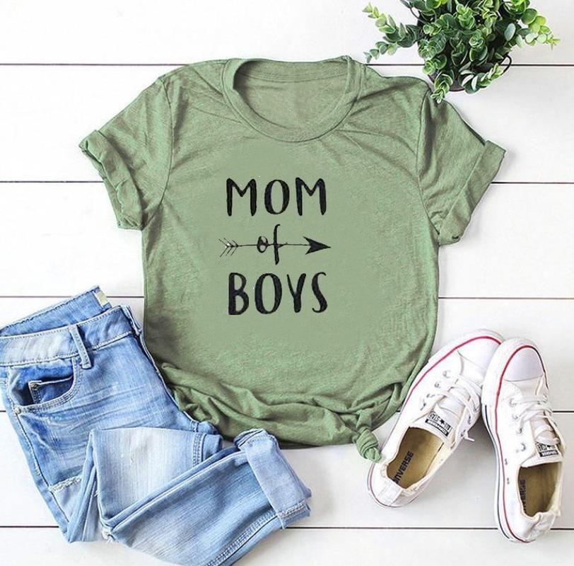 MOM OF BOYS Letter Print T Shirt Women Short Sleeve O Neck Loose Tshirt 2020 Summer Women Tee Shirt Tops Camisetas Mujer88
