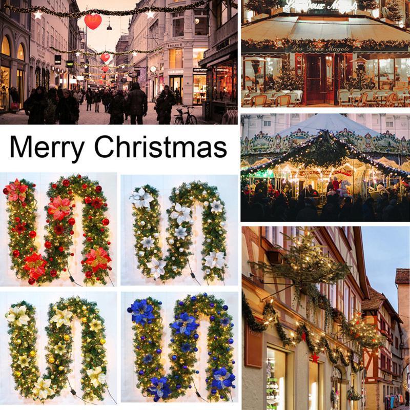 2.7m / 9ft Noël Guirlande LED de lumières de Noël Ornements Décorations d'arbre de Noël artificiel Garland Couronne