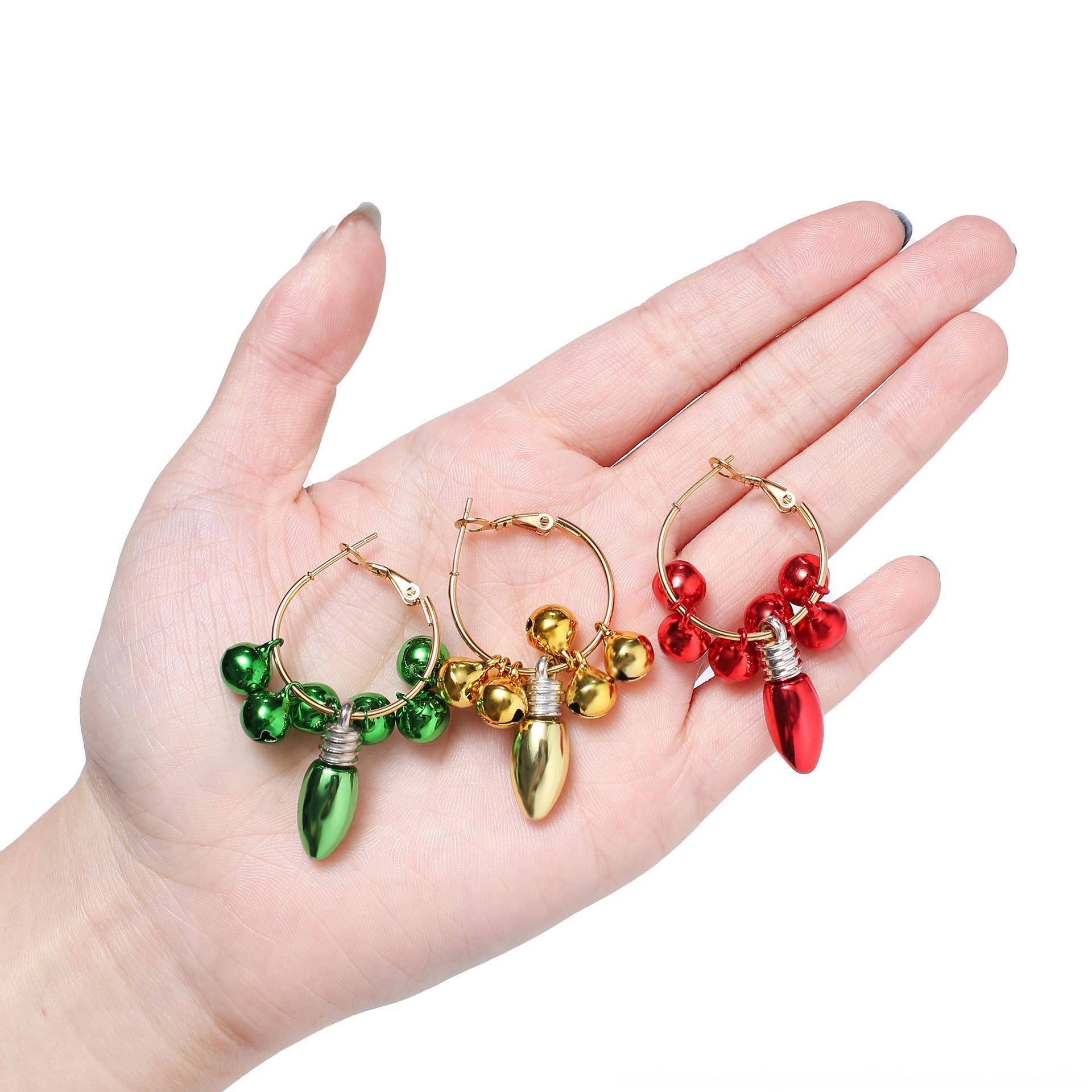 1lv8o bijoux cloche anneau rond bulbe créatif géométrique Anneau et boucles d'oreilles boucles d'oreilles