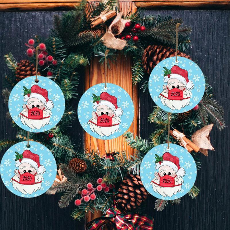 25# 30PC 2020 Christmas Ornament Santa Wearing A Face Mask Christmas Tree Home Decoration Decorate tree Drop Pendant