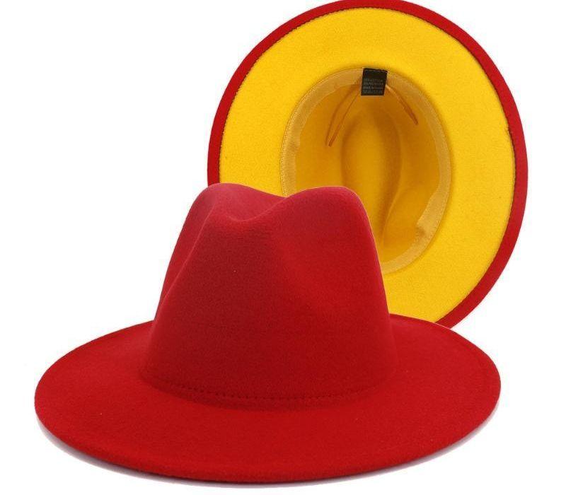 QBHAT Rouge Jaune Patchwork Laine Feutre Panama Fedora large Brim Hat Flat Brim Top Jazz Cap pour les dames Femmes Hommes Casual