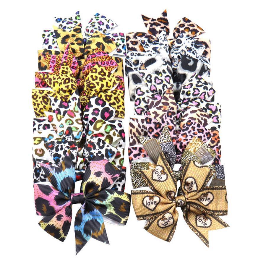 16colors Rippe Band Bunte Leopard-Druck-Schwalben-Schwanz-Haar beugt Baby-Hairpin-Haar-Verzierung Haarschmuck Partei-Bevorzugung RRA2620