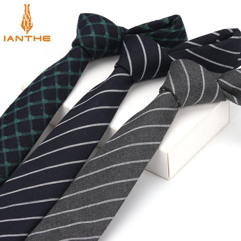 6cm Plaid hommes Cravate Mode Cravates Tenue de soirée Costume d'affaires Cravate à rayures Slim Cravat coton maigre marque chemises à rayures Cravate