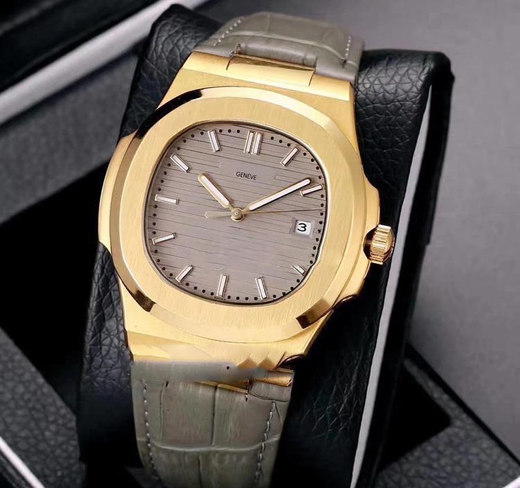 2020 Nautilus Classic 5711J 18k oro amarillo dial blanco 40 mm A2813 Reloj automático para hombre Relojes deportivos Cuero 12 colores P280F6.