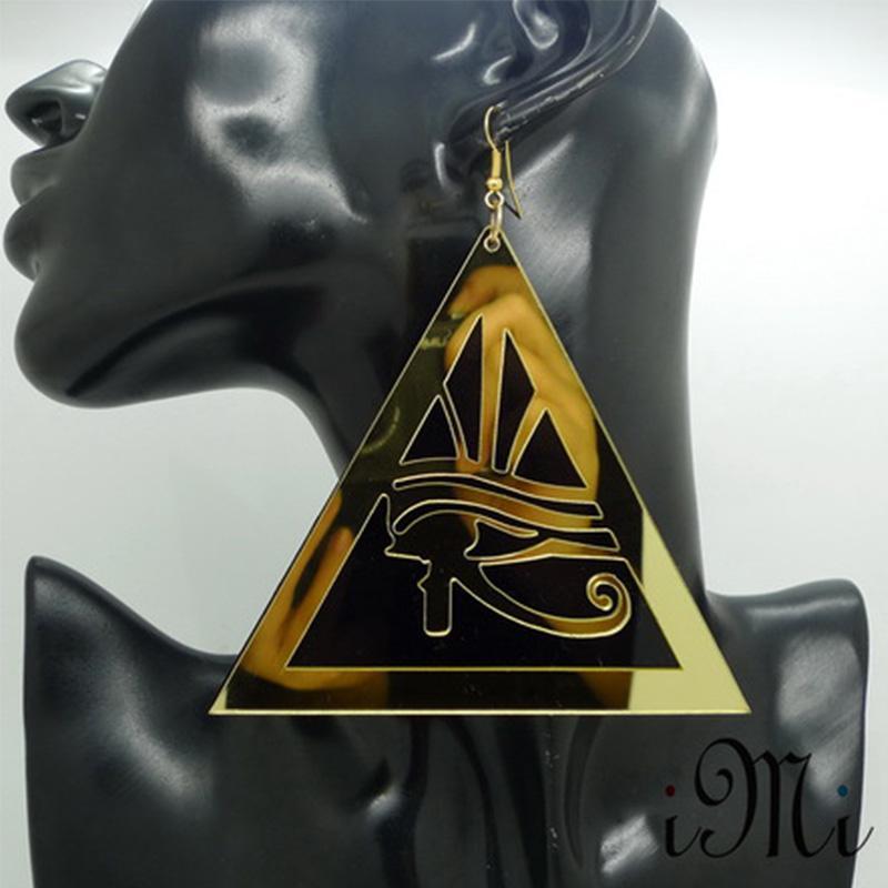 Pendientes Pendientes de corte del color oro Acrylci láser Egipto Estilo Horus manera de los ojos