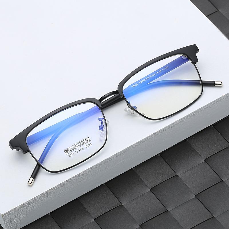 Kadınlar ve Retro Kare Gözlüklü Düz Klasik Yeni Güneş Gözlüğü Erkekler Çerçeve Düz Ayna Göndermek Yüksek Kaliteli Bilgisayar Gözlük Metal Trend Boxe SFBK