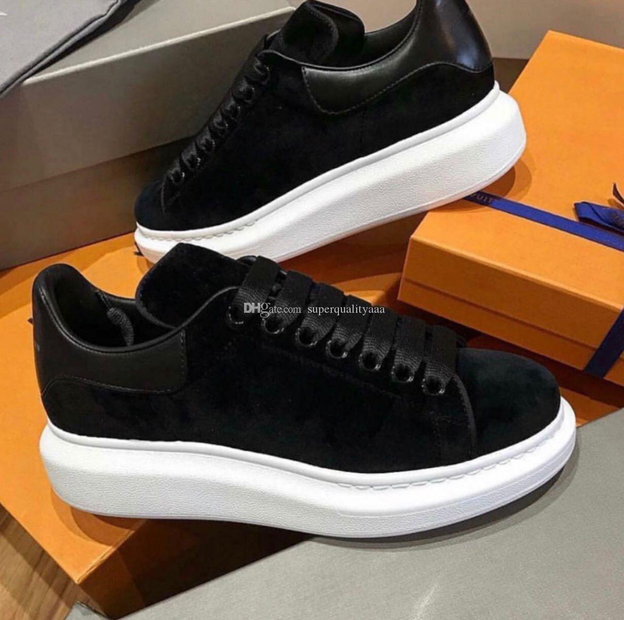 Black Velvet-Leder-Plattform-Trainer-hochwertige Designer-weißes Leder-Sneakers Frauen, Männer Outdoor Casual Sport EU35-46, Box, Staubbeutel