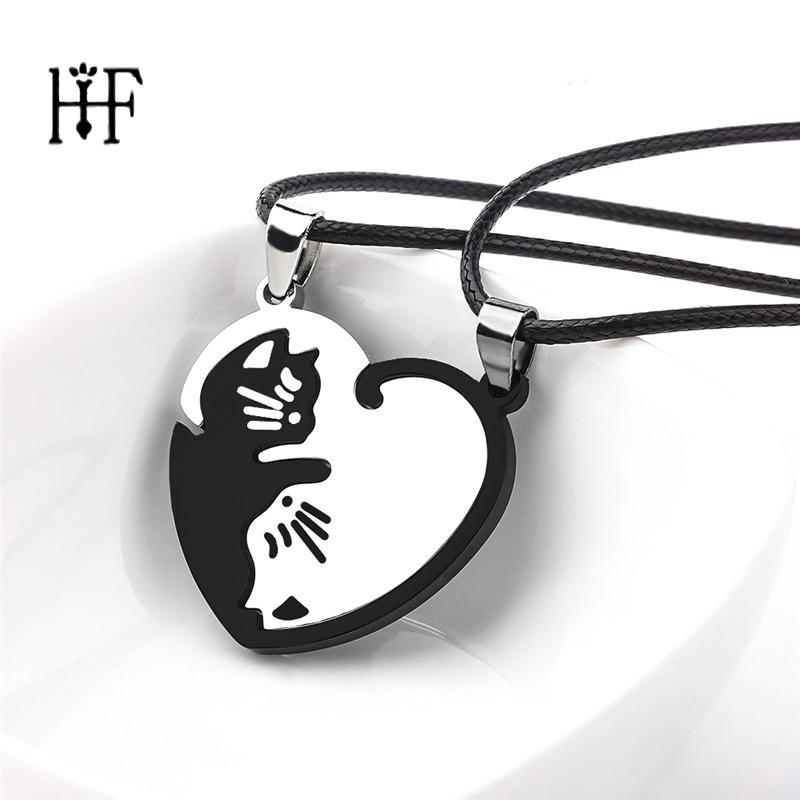 1 paio Coppie Collane di splicing gatto gioielli collana in acciaio inox cuore amore rotonda Yin Yang collana Lover