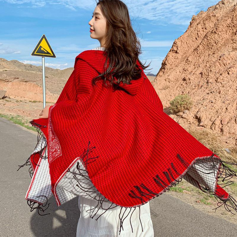 Outono e Inverno estilo étnico Grande Dividir xaile dupla utilização Lenço Mulheres espessamento Qinghai Tibet Turismo Quente Manto