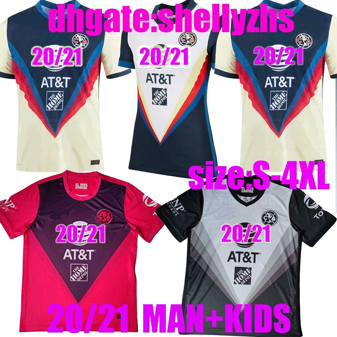 Size: S-4XL 2020 2021 Liga MX Club Club America Soccer Jersey 20 21 Молодежь Мексика Джовани Р. Самбуэза О.Перальта Футбольная футболка Мужчины + Дети