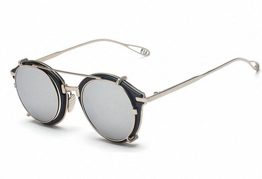 Neue Großhandelsmarken-Klipp auf runde Sonnenbrille Männer Metall Flat Top Blau-Rosa-Silber-Gold Mirror Brille mit Klipp auf Sonnenbrillen Männer U Wb5y #