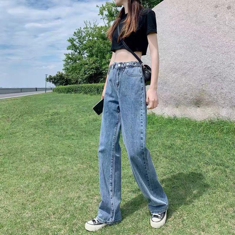 Женские джинсы 2021 прямая широкая нога женщина высокая талия джинсовые брюки корейский уличная одежда Свободный повседневный большой размер мягкие низкие брюки L274