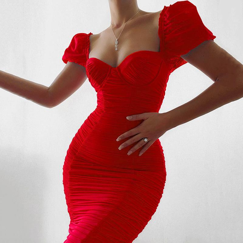 더블 레이어 메쉬 Ruched 미디 드레스 여성 2020 여름 짧은 퍼프 슬리브 백리스 섹시 V 넥 바디 콘 클럽 파티 드레스