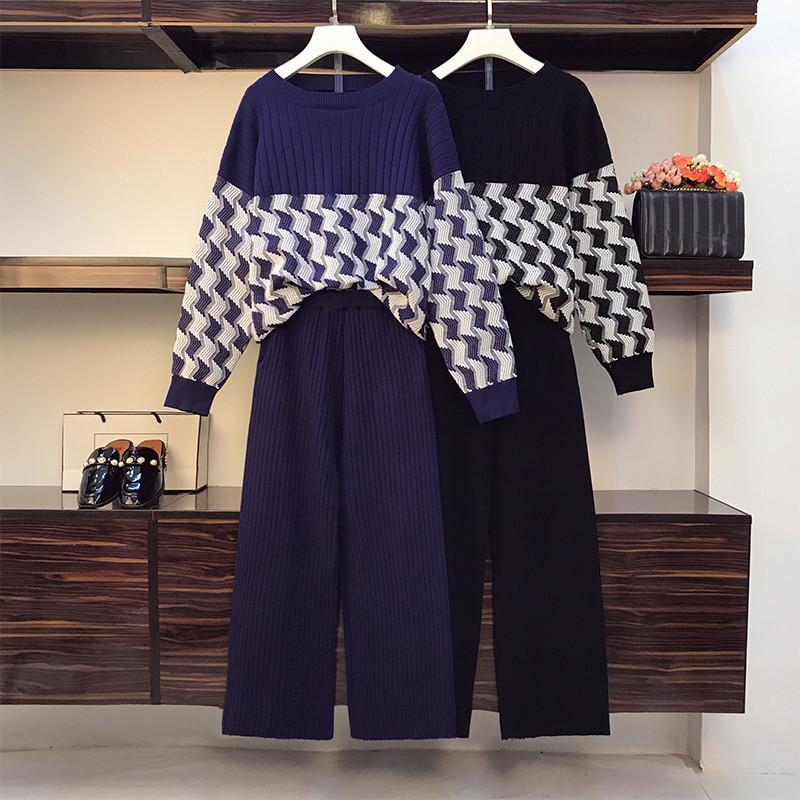 Nueva pista Otoño Las mujeres de punto chándal Set de 2 unidades Jacquard Jerseys Tops + Wide Pantalón de pierna traje de dos piezas de punto Conjunto Sporting