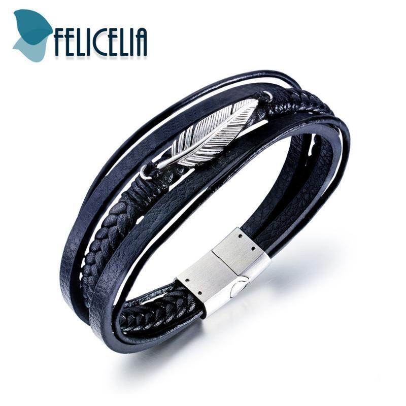 Felicelia Vintage-Feder Vielschichtige Lederarmbänder für Männer Art und Weise Schmucksache-Zusatz