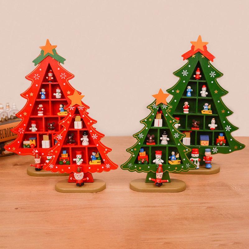 Decoraciones de Navidad de madera de árbol de Navidad escena creativa Disposición t decoración tridimensional rojo navidad decoración de escritorio Tabla
