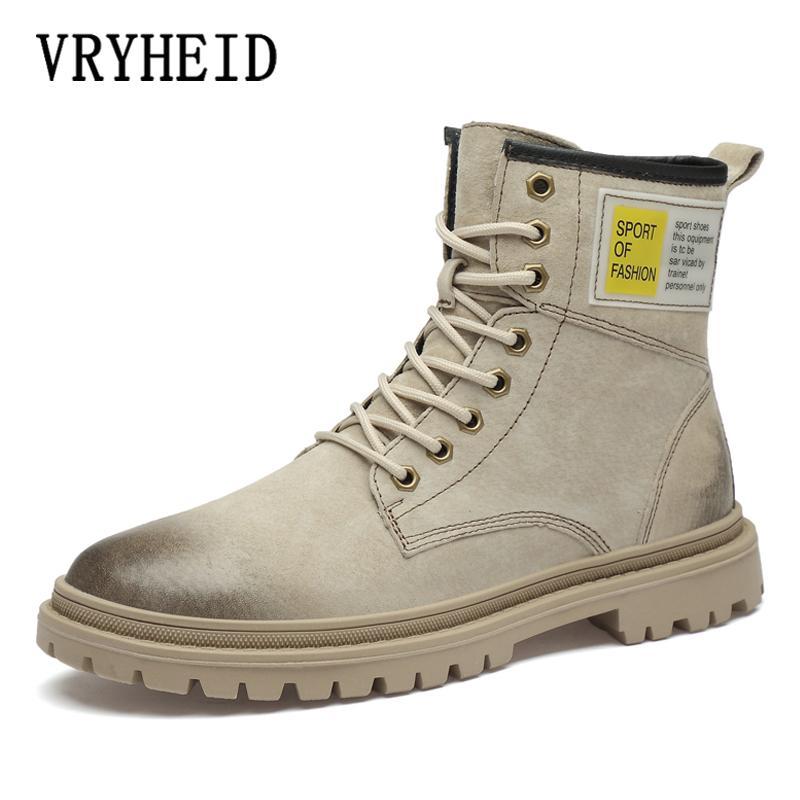 Botas Vryheid otoño invierno moda hombres genuino cuero tobillo trabajo zapatos de trabajo piel caliente nieve casual para botas