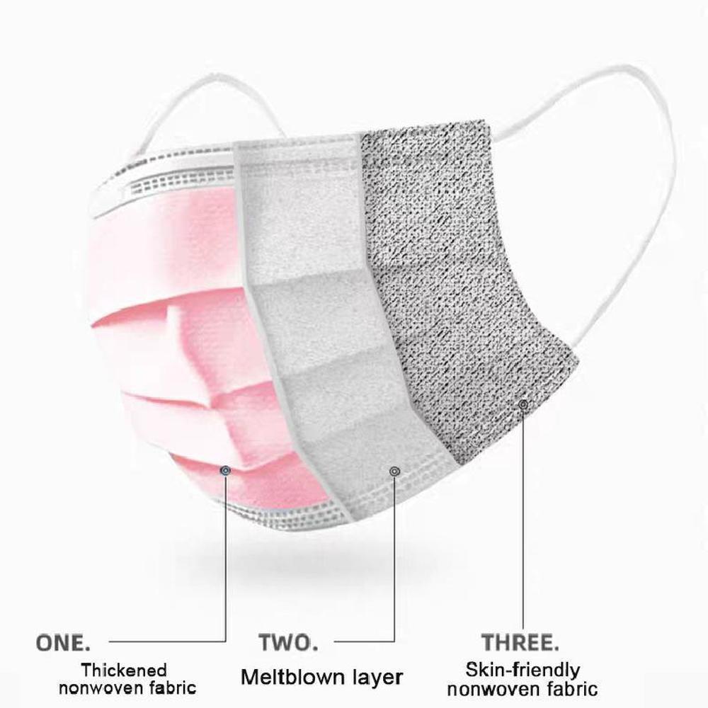 Bant Elastik Kapak QVFIU Açık Kulak Renk Tekptabında Tek Kullanımlık Maske 3ply Pembe Ağız Togev Ücretsiz Maskeleri Koruyucu DHL Nakliye! FA Dokumasız BVDR