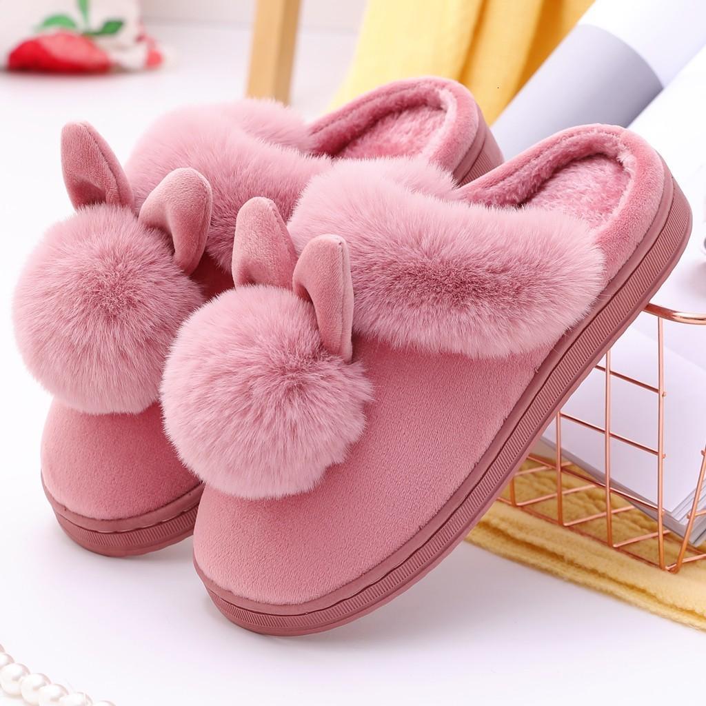 zapatos de algodón, lindo conejo orejas peludas zapatillas de interior, cálido invierno zapatillas antideslizantes cómodos al aire libre de las mujeres 40