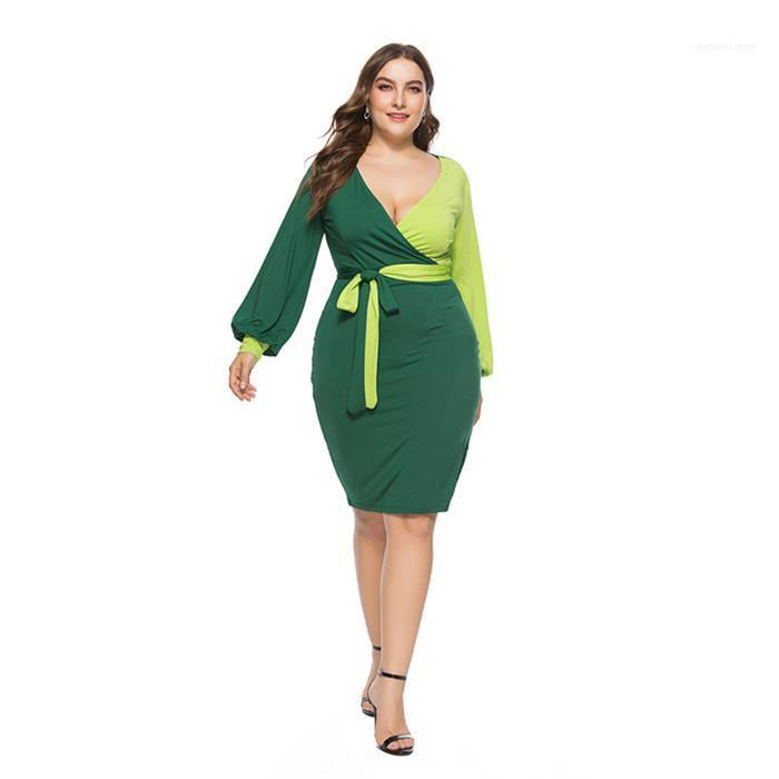 V шеи Пояса фонариков рукавом Платья Женщины OL контрастного цвета Повседневная одежда женщин Plus Szie Щитовые платье Spring Deep
