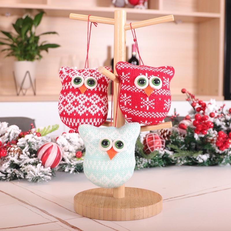 Decoración para colgantes Árbol de Navidad Punto Cremallera Cremallera Dibujos animados 3 unids / Set Cadena Adornos de animales Llavero Kid Equipaje Colgando Pájaros Regalo Inicio KWLNM
