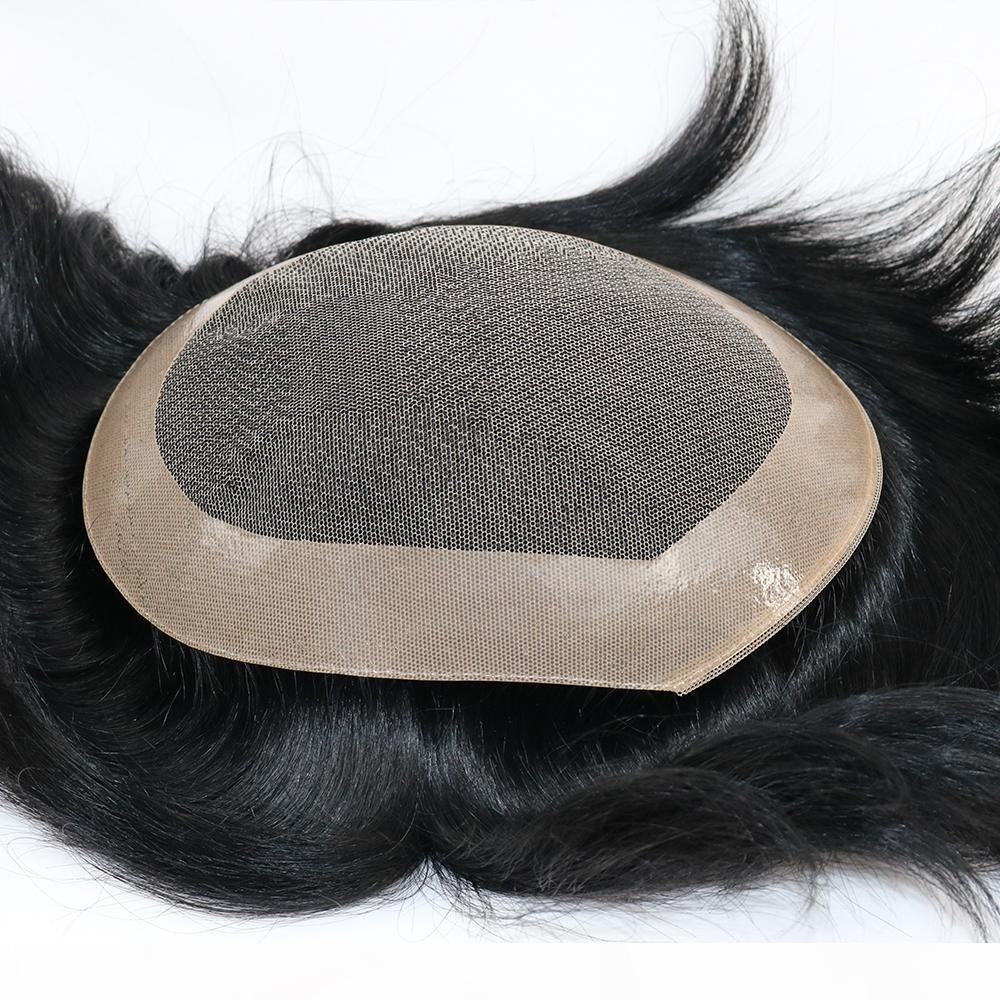 Eversilky cheveux humains Toupets dentelle + NPU perruques de cheveux pour hommes 100% humain indien remplacement Perruques
